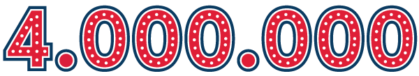 The number 4 million in a carnival-type font